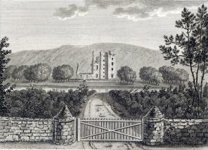 Castle Kennedy by Francis Grose, pub-1789, in Antiquities of Scotland, vol-2 pp-191-192: Public Domain, Wikipedia Commons